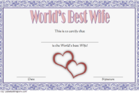 FREE World's Best Wife Certificate Template 4