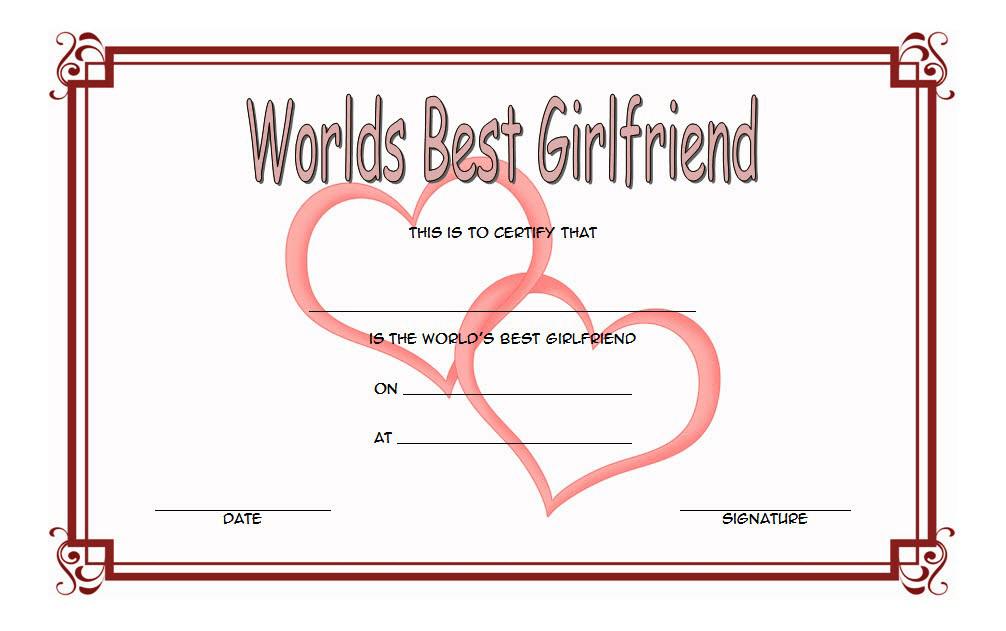 best girlfriend certificate template, best girlfriend certificate printable, best girlfriend award certificate template, best girlfriend in the world certificate