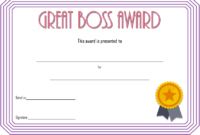 National Boss's Day Certificate Free Printable 2