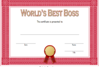 World's Best Boss Certificate Template Free 1