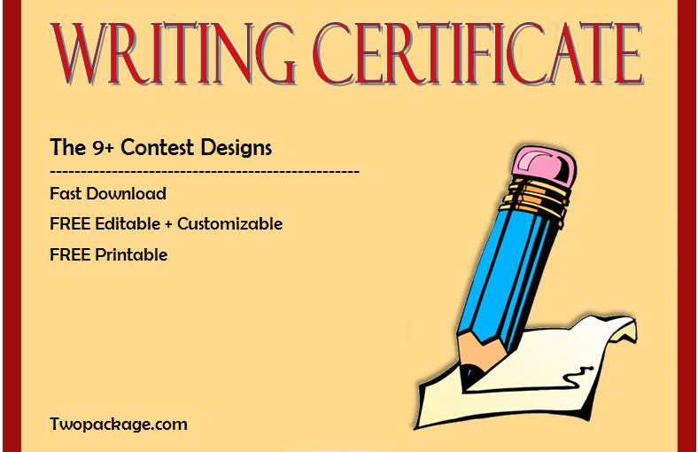 Top 9+ Writing Certificate Templates Free Download