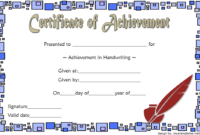 Best Handwriting Certificate of Achievement Template Free 1