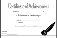 Best Handwriting Certificate of Achievement Template Free 2
