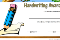 Most Improved Handwriting Certificate Template Free 2