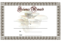FREE Printable Science Award Certificate Template 3