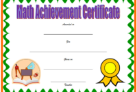 Math Achievement Certificate Template Free Download 04
