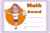 Math Award Certificate Template Free Customizable 01