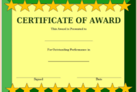 Outstanding Performance Award Certificate Template Free 1