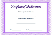 Outstanding Performance Award Certificate Template Free 2