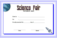 Science Fair Certificate of Participation Template FREE 2