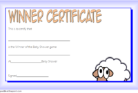 Baby Shower Certificate Free Printable (1st Design)