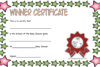 Baby Shower Certificate Free Printable (2nd Design)