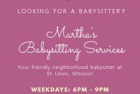 Babysitting Flyer Template Word Free Design (2nd Idea)