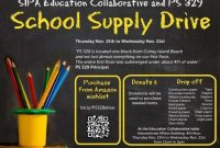 Back to School Supply Drive Flyer Template Free Design (4th Option)