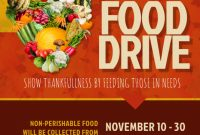1st Printable Thanksgiving Food Drive Flyer Template Free Design