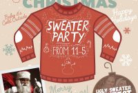 1st Ugly Christmas Sweater Party Flyer Template Free Design