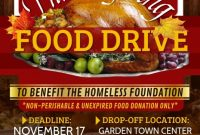 2nd Printable Thanksgiving Food Drive Flyer Template Free Design