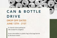 Can and Bottle Drive Flyer Template Free Design Sample (1st Reference)