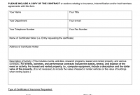 Sample Certificate of Insurance Request Form Free (1st Official Idea)
