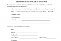 Sample Certificate of Insurance Request Form Free (2nd Official Idea)