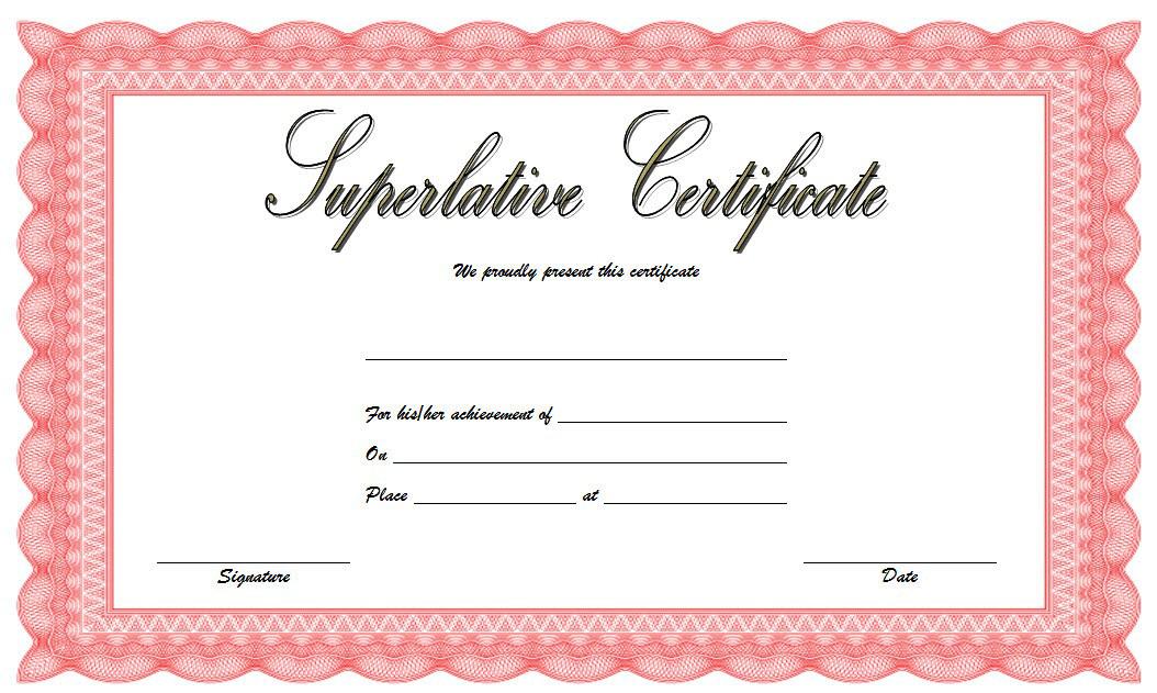 superlative certificate template word, free superlative certificate template, superlative award templates free, senior superlative certificate